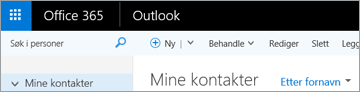 Båndet ser slik ut når du har Outlook på nettet.