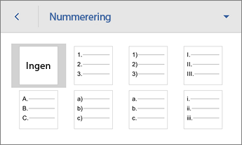 Nummerering-kommando som viser formateringsalternativer