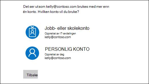 Logge på skjermen med to e-postadresser