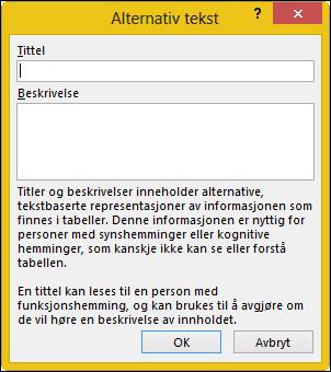 Dialogboksen for alternativ tekst i Excel