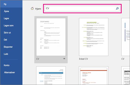 Søkeordet CV er uthevet på Nytt dokument-skjermen.