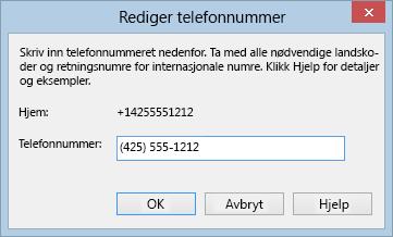 Eksempel på Lync-telefonnummer som viser internasjonalt oppringingsformat