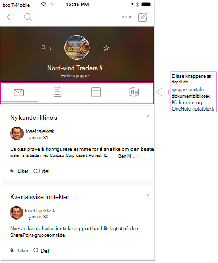 Samtalevisning for en gruppe i grupper i Outlook-mobilappen