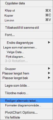 Excel 365 redigere alternativ tekst-menyen for pivotdiagrammer