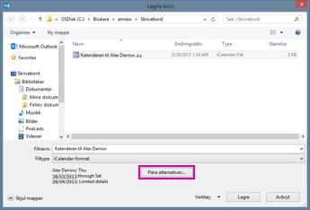 Dialogboksen Lagre som for Outlook-kalender