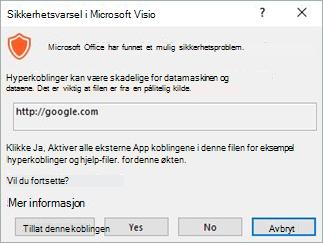 Velg Tillat denne koblingen for den bestemte koblingen, eller Ja for å aktivere alle koblinger for denne filen.