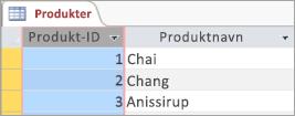 Skjermsnutt av Produkter-tabellen