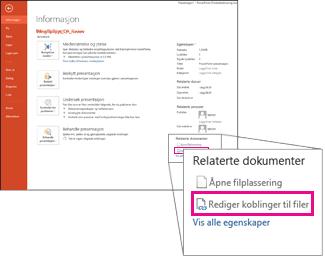 Redigere koblinger til filer
