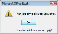 Kan ikke flytte objekter bort fra meldingsboks på ark