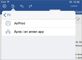 I Skriv ut i Word for iOS-dialogboksen kan du skrive ut dokumentet, eller åpne det i en annen app.