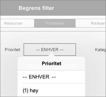 Angi filtre for et instrumentbord