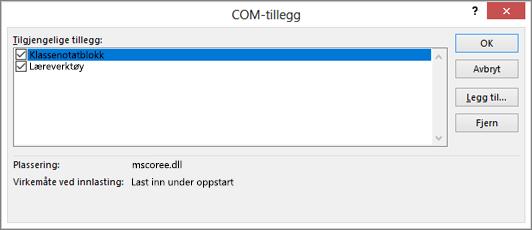 Ruten for COM-tillegg med OneNote Klassenotatblokk og avmerkingsboksen merket. Knapper for OK, Avbryt, Legg til og Fjern.