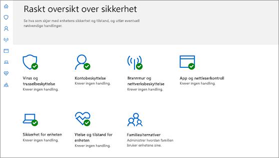 Windows Defender sikkerhetssenter