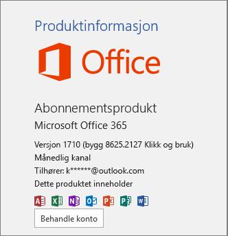 Vanlig Office 365-versjon