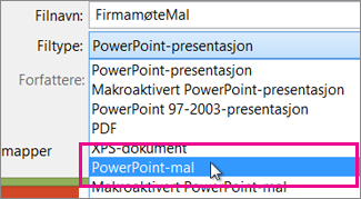 Lagre som en PowerPoint-mal