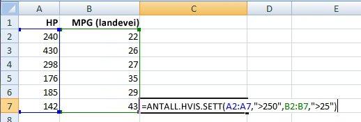 Bruke ANTALL.HVIS.SETT-funksjonen på et celleområde