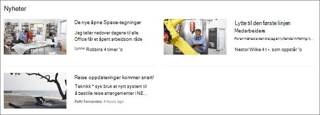 Screencap av nyhets nett delen på et SharePoint-nettsted, der post er filtrert