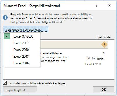 Dialog boksen Kompatibilitetskontroll for Excel