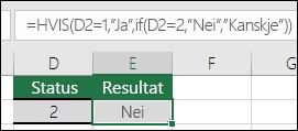 """Bruk """""""" for å finne en tom celle – formel i celle E3 er =HVIS(D3="""""""",""""Tom"""",""""Ikke tom"""")"""