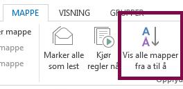 Sorter mappene i alfabetisk rekkefølge ved å klikke Vis alle mapper A til Å.