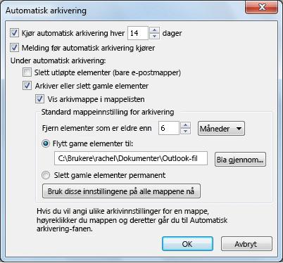 Dialogboksen Innstillinger for automatisk arkivering