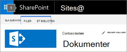 SharePoint-2016 øvre venstre hjørne av skjermen som viser startprogrammet og tittel
