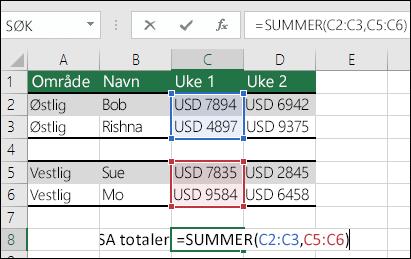 Bruke SUMMER med områder som ikke er sammenhengende.  Celle C8-formelen er = SUM(C2:C3,C5:C6). Du kan også bruke navngitte områder, og formelen ville da vært =SUMMER(Uke1,Uke2).