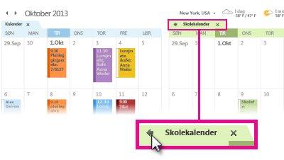 Kommandoen Vis i overlappingsmodus på en kalenderfane