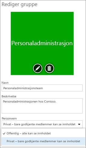 Rediger gruppe-siden - Endre personvern fra offentlig til privat