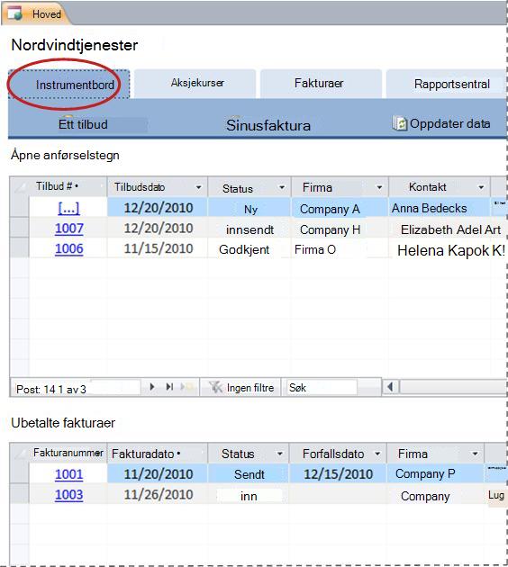 Kategorien Instrumentbord i tjenestedatabasemalen