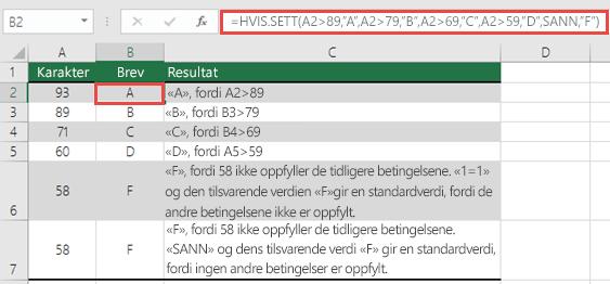 """HVIS.SETT-funksjon, karaktereksempel  Formelen i celle B2 er =HVIS.SETT(A2>89,""""A"""",A2>79,""""B"""",A2>69,""""C"""",A2>59,""""D"""",SANN,""""F"""")"""