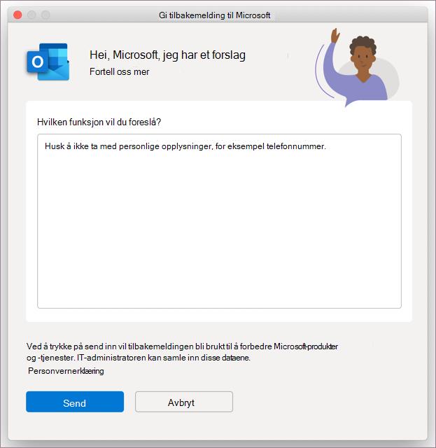 Tilbakemeldingsdialogboks for Outlook i MacOS