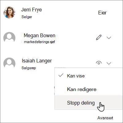 Skjerm bilde av hvordan du stopper deling med én person i OneDrive for Business