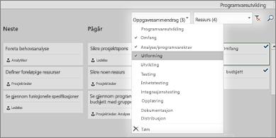 Oppgavetavle med Filter-rullegardinliste