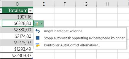 Alternativet for å angre en beregnet kolonne når en formel er satt inn