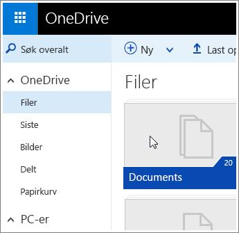 Skjermbilde av Dokumenter-mappen i OneDrive.