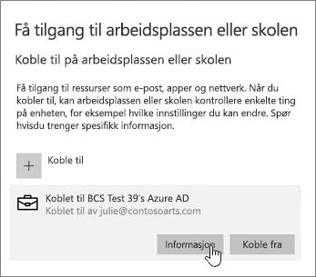 Klikk på Info-knappen for å vise synkroniseringsstatus