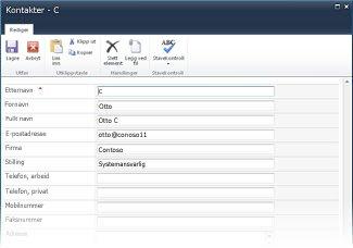 InfoPath-listeskjemaer for SharePoint