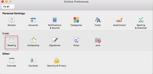 Som viser Outlook-innstillinger med lese valgt