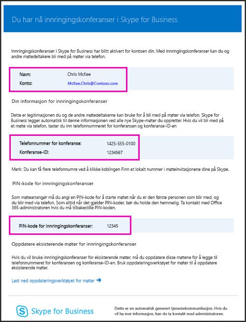E-post for Innringingskonferanser
