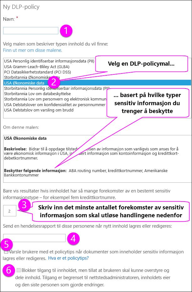 Nye DLP-Policy-alternativer