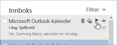 Et skjermbilde av flaggealternativet i meldingslisten