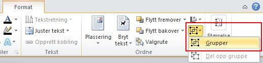 Klikk Grupper under Ordne på Format-fanen, og klikk deretter Grupper.