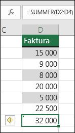 Excel viser en feilmelding på skjermen når en formel hopper over celler i et område