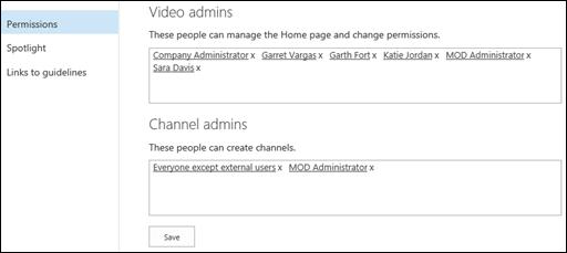Innstillinger-siden for portalkanaler – tillatelser