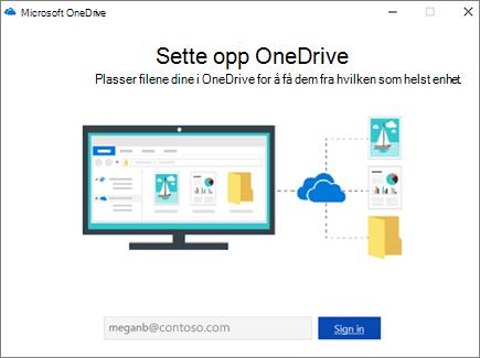 Skjerm for konfigurasjon av OneDrive