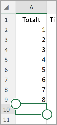 Android-nettbrett Excel Autosummer