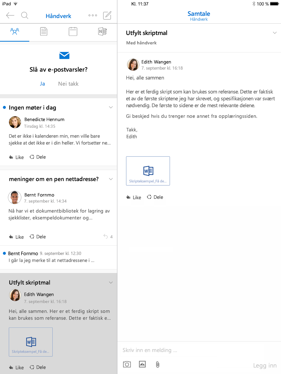 Samtalevisning i Outlook-grupper for iPad