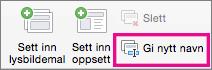 Kommandoen Gi nytt navn til lysbildemal i PowerPoint for Mac
