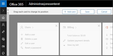 Viser hjemmesiden for Admin Center med nedtonede ut utseende.